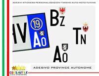 ADESIVI TARGA AUTO PROVINCIA AUTONOMA SPECIALE TN BZ AO  + ANNO IMMATRICOLAZIONE