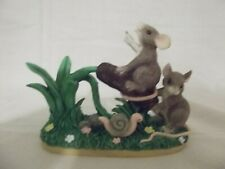 """Cattail Catapult� Charming Tails mice and snail figurine Nib"