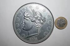 PRECIOSA MONEDA GIGANTE U.S.A. RÉPLICA 78mm DIÁMETRO, 5 CENTS 1885 SC VER FOT