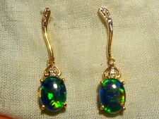 Opal Earrings 14ct Yellow Gold & Diamond. Natural Triplet Opals 8x6mm Oval.80312