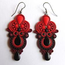 elegant handmade bold chandelier dark red black maroon big drop large earrings