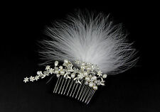 Genuine Pearl Hair Comb, Bridal Comb, Bridal Comb, Bridal Feather Fascinator