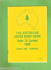 #D209.  1980 RUGBY UNION PROGRAM - AUSTRALIAN UNDER 16 CARNIVAL