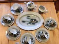 VINTAGE JAPANESE PORCELAIN TEA SET 5 X Trio Cake Plate Sugar Bowl Milk Jug + VGC