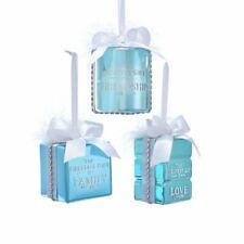 "Blue Gift Box Present Glass Christmas 3"" Ornament Set 3 Kurt Adler Family Friend"