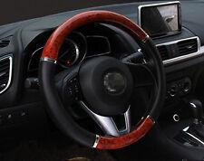 """Steering Wheel Cover Non-Slip PVC Black Wood Grain For Car Truck SUV 14.5""""-15.5"""""""
