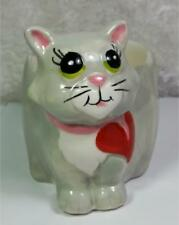 Ceramic Cat Figurine Trinket Dish Planter Big Eyes Heart Gray Red Green Pink