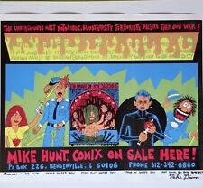 MIKE DIANA SIGNED SCREEN PRINT COMIX UNDERGROUND COMICS GG ALLIN HUNT POSTER VTG