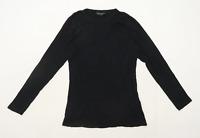 Dorothy Perkins Womens Size 12 Cotton Black Long Sleeve T-Shirt (Regular)