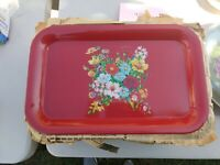 Vintage Red Metal Bed Lap TV Serving Tray Carnation Floral