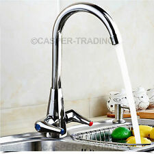 New Monobloc Kitchen Tap Round Sink Mixer Twin Lever Handle Chrome Brushed Steel