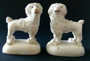 Pair of Antique Miniature Staffordshire Poodle Figures c.1845