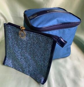 ESTEE LAUDER Blue Train Makeup Case With Small Cosmetic Bag  2 Piece Set-New