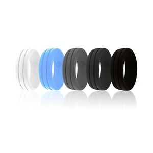 AERA Men's Rubber Silicone Wedding Band Ring Cool Stylish Modern Design Size #12