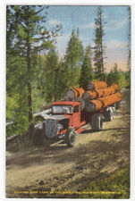 Logging Truck Pacific Northwest US 1950c linen postcard