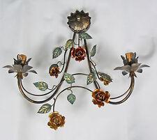 APPLIQUE LAMPADA LED RUSTICO CON FOGLIE E FIORI MADE IN ITALY NUOVO ART.501