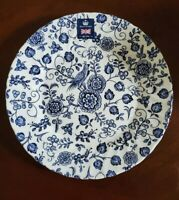 NEW (4) ROYAL WESSEX BLUE WHITE FLORAL BERRIES BIRD SALAD PLATES HOME DECOR