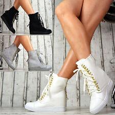 lujo Sexy Zapatillas Tacón De Cuña Sport Zapatos Mujer Blanco Gris Negro 36-41