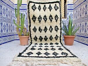 "Vintage Moroccan Azilal Rug Handmade Old Carpet Tribal Berber Wool 5'8"" x 2'3"""