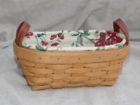 Knick Knack Basket w/ Plastic Protector & Heirloom Floral Liner 2004 Longaberger