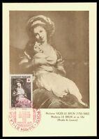 FRANCE MK 1953 ROTES KREUZ RED CROSS ART LOUVRE CARTE MAXIMUM CARD MC CM ax24