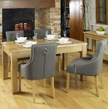 Nara solid oak furniture dining table and four luxury grey chairs set