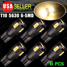 6X Warm White High Power 168 W5W 906 T15630 6SMD Interior Reverse LED Light Bulb