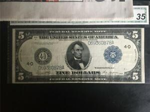 """CHOICE CERTIFIED VERY FINE RARE """"WHITE MELLON"""" FR859C 1914 $5 CLEVELAND FRN"""