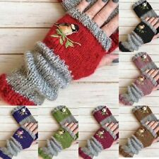 Birds Embroidery Gloves Women Knitted Fingerless Mittens Girls Warm Winter Glove