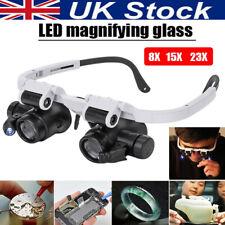 8/15/23x Magnifier Magnifying Glasses LED Light Jeweler Watch Repair Headband UK