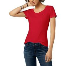 Tommy Hilfiger Womens Red Crew Neck Short Sleeves Cotton T-Shirt Top M BHFO 2282