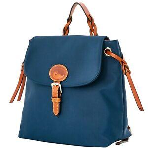 NWOT Dooney  & Bourke Nylon/ Leather  Flap Backpack  Navy  FABULOUS!!
