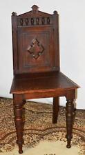 Victorien Chêne balustrade Dos Croisé Gothique Hall chaise Mid 19 C [PL3374]