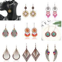 1 Pair Bohemian Fashion Women Hollow Tassel Bead Ear Hook Drop Dangle Earrings