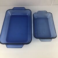 "Anchor Hocking Cobalt Blue Lasagna Casserole Baking Dish 8""x11.5""  2qt & 9x6 1qt"