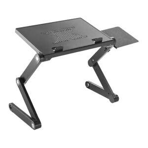 ProperAV Sit or Stand Up Laptop Desk with Mouse Pad Side Mount - Black