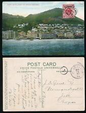 HONG KONG KG5th PERFIN on PPC to BELGIUM 1914 PRAYA CENTRAL