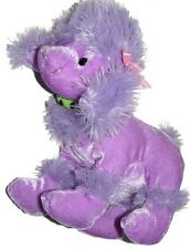 Purple Poodle Dog Puppy Green Collar Pink Bow Plush Lovey 9 inch Stuffed Animal