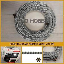 6x37 FUNE ACCIAIO ZINCATO filo metallo corda cavo cima galvanizzato 10mm 16mm