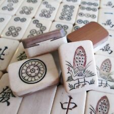 Asian Vtg Bone & Bamboo 136 Tiles Mahjong Set, Wind Indicators & Dice Mah Jongg
