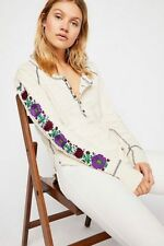 Free People embroidered Petal Sleeve Henley Top Size Small S NWT NEW