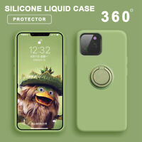 Liquid Silicone Case For iPhone 11 Pro Xs Max 8Plus Shockproof Ring Holder Cover