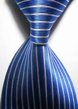 New Classic Striped Blue White JACQUARD WOVEN 100% Silk Men's Tie Necktie NW089