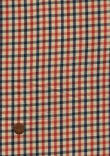 100% Cotton Fabric, Red Blue Sand Fine Woven Country Check Patchwork Craft