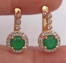 18K Gold Filled Earrings Emerald Topaz Zircon Ear Hoop Botton Round Stud Women