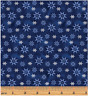 Winter Snowflake Dark Blue 100% Cotton Quilting fabric By the Yard Benartex