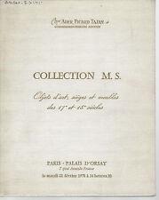 Catalogue vente Collection M.S. Porcelaine Mobilier XVIIe XVIIIe Louis XV XVI
