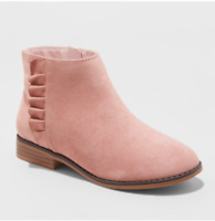Cat & Jack Girls' Euna Faux Suede Ruffle Accent Side Zip Ankle Boots, Pink