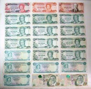 21 Central Bank of Bahamas Bank Note Lot Collection Vintage Paper Money