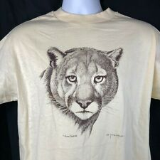 Cougar Big Cat Illustration L Vtg T-Shirt Large Mens G Monroe 1986 Puma BYU 42in